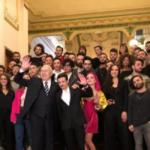 L'arrivo al Teatro del Casinò di Pippo Baudo e Fabio Rovazzi con i 24 finalisti di Sanremo Giovani